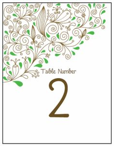 Table Number Cards. Printable Wedding Invitations Paisley Rebecca Suite: Green and Brown