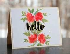 Hello card by Virginia Lu (WPlus9 Watercolored Anemones)