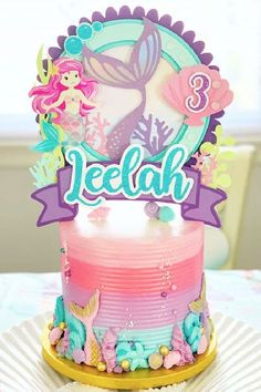 Dive in to this gorgeous mermaid birthday party! The birthday cake is amazing! See more party ideas and share yours at CatchMyParty.com Bridal Shower Cakes, Baby Shower Cakes, Mermaid Birthday Cakes, Rustic Cake, Holiday Cakes, Gorgeous Cakes, For Your Party, Wedding Cakes, Centerpieces