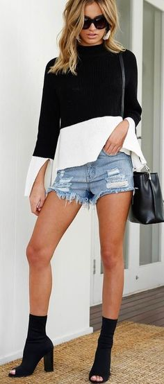 #summer #outfits  Monochrome Top   Ripped Denim Short   Black Open Toe Booties 🖤