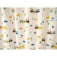 サイズ豊富な2級遮光の可愛い子供部屋カーテン 【ビークル イエロー】 - 100サイズ既製カーテン通販専門店|びっくりカーテン