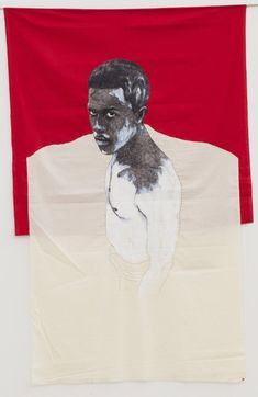 """""""Pierre Mukeba (Congolese, b. Injustice and lack of recognition, Brush pen and fabric applique on cotton, 166 x 114 cm. Art Thomas, Brush Pen, Aesthetic Art, African Art, Figurative Art, Black Art, Amazing Art, Black And Brown, Applique"""