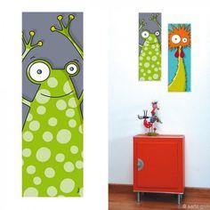 tableau grenouille pour chambre bébé et enfant Diy Wall Art, Diy Art, Canvas Wall Art, Paintings Famous, Animal Paintings, Painting For Kids, Art For Kids, Garden Mural, Kindergarten Design