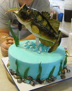 Birthday Cake w/ Fondant Fish hand painted.   Flickr - Photo Sharing! Bass Fish Cake, Fondant Fish, Fisherman Cake, Chocolates, Fish Cake Birthday, 70th Birthday, Birthday Parties, Cake Wrecks, Animal Cakes
