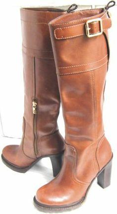 Tory Burch Marit Knee Boots Brown Leather High Heels Logo Buckles Equestrian 7 5 | eBay