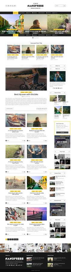 Nanopress - WordPress Responsive Blog & Magazine Theme  Nanopress is a Premium WordPress Personal Blog & magazine Theme that clean design and fully responsive layout. This theme is useful with many homepage style, slider style, theme options, custom sidebar and much more!