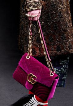 See Glorious Detail Shots of Gucci's Drool-Worthy Fall 2016 Accessories - Jewel-toned velvet and the classic double Gs - from http://InStyle.com