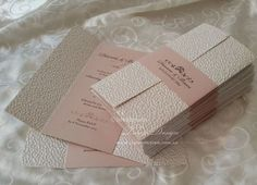 blush wedding invitation with ivory pebble paper servicing worldwide