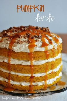 This is a Pumpkin Torte. Isn't shea beaut? I servedthisto our friends we had over for dinner last Friday night. When I took it out of the fridge to serve everyone was ooing and awing! It has Wow-factor written all over it! (andit's actually super easy tomake)Moist pumpkin cake layerswith pumpkin whipped cream in...Read More »