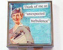 Funny pill case, Funny pill box, Pill Case, Pill Box, Square Pill case, 4 Sections, Square Pill box, turbulence, flight attendant (4232)