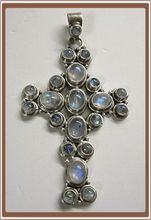 Sterling Silver and Moonstone Cross Pendant Big Bold and Beautiful