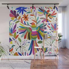 otomi bird Wall Mural by sylviedemes - Murales Pared Exterior Mural Floral, Flower Mural, Floral Wall, Wall Painting Decor, Mural Wall Art, Wall Decor, Outdoor Wall Paint, Mexican Wall Art, Garden Wall Art