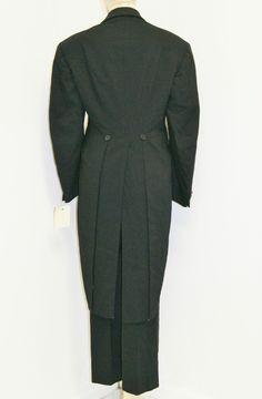 Vintage 1930's Mens Wide Lapel Black Tuxedo Tails Jacket Pants Suit | eBay