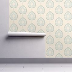 Heritage in Clear Blue wallpaper - willowlanetextiles - Spoonflower