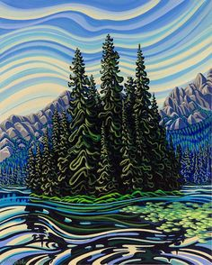 This print featuring Island Lake in Fernie BC comes signed, matted and backed to orders shipped outside North America, print will not come matted but will be rolled and shipped in a tube. Abstract Landscape, Landscape Paintings, Landscapes, Painting Abstract, Acrylic Paintings, Landscape Illustration, Illustration Art, Illustrations, Canadian Artists