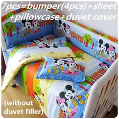 Promotion! 6/7PCS Mickey Mouse Baby Bedding Set Cot Crib Bedding Set for girls boys cuna Quilt cover baby bed ,120*60/120*70cm