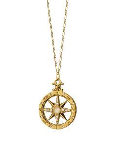 18K Gold Diamond Compass Charm Necklace - Monica Rich Kosann