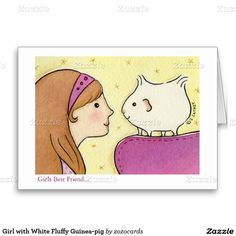 Girl with White Fluffy Guinea-pig Greeting Cards