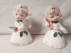2 Vintage NAPCO JAPAN Girl Angel Ceramic Christmas Ornament Bells | eBay