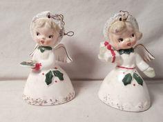 2 Vintage NAPCO JAPAN Girl Angel Ceramic Christmas Ornament Bells | eBay
