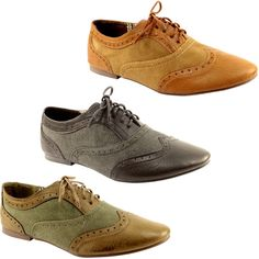 WOMENS NEW BROGUE LACE UP FLAT OXFORD PUMPS SHOES 3-8