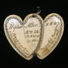 "Scrimshaw Double Heart Mourning Jewelry Circa 1807.  ""Beauty and youth in vain to these you trust For youth and beauty shall be laid in dust."""