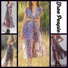 "FREE PEOPLE Printed Maxi Party Dress  NEW WITH TAGS  FREE PEOPLE Printed Midi Maxi Dress                                                                   * Flowy skirt * Lightweight & lined fabric  * V-neck & short flutter sleeves; Cutout details & slits through out skirt * Tagged size 10 (M) will fit sizes 8-10. About 44"" long  * Side zip & back button closure  Fabric: 100% Polyester Color: Moonlight  Item:9219900  No Trades ✅Offers Considered*/Bundle Discounts✅ *Please use the blue…"