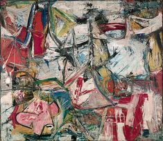 Willem de Kooning - Gotham News, 1955 oil, enamel, charcoal, and newspaper transfer on canvas, 69 1/2 x 79 3/4 inches Collection Albright-Knox Art Gallery, Buffalo, NY Gift of Seymour H. Knox, Jr., 1955 ©The Willem de Kooning Foundation/ Artists Rights Society (ARS), New York
