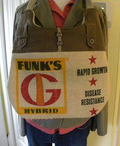 Funk Brothers Vintage Seed sack upcycled handbag by LoriesBags