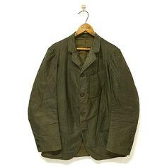 Old Black Cotton Sack Coat - mushroom - Vintage Clothing Store