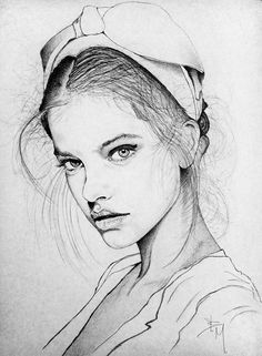 """Barbara Palvin"" by contemporary Italian artist Bruno Maiorano, beautiful female face portrait drawing. Nice technique."