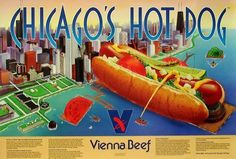 Looking for an authentic Vienna Beef Hot Dog stand? In the market to pick up some of our delicious products at your local retail store? You're in the right place! Chicago Hot Dog, Chicago Style, Chicago Poster, Chicago Art, Chicago Cubs, Hot Dog Bar, Hot Dog Stand, Hot Dog Recipes