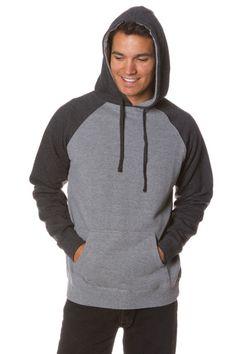 Mens Raglan Pullover Hooded Sweatshirt