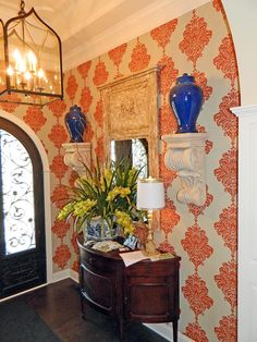 Love this entryway wallpaper