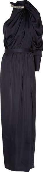 LANVIN Crystal-collared Satin Gown - Lyst