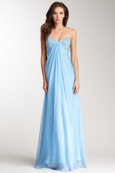 Sweetheart Beaded Ruched Gown