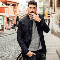 SIMWOOD 2017 New Autumn Winter Jacket Men Coats Long Parkas Stand Collar  Slim Fit Brand Clothing ac7f96b55fc