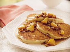 Praline Peach Pancakes    I LOVE praline pecans  You could use this syrup over the IHOP pumpkin pancakes & it would e just like the iHop dish.