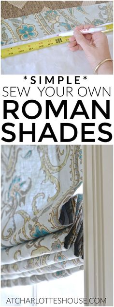 Diy Sewing Projects Simple steps to sewing my own fabric roman shades. - My past mistakes are your gain with this simple DIY lined Roman Shade tutorial. I've figured out the right technique and am sharing the steps with you. Roman Curtains, No Sew Curtains, Rod Pocket Curtains, Diy Roman Blinds, Window Curtains, Curtains Living, Bedroom Curtains, Bathroom Window Coverings, Diy