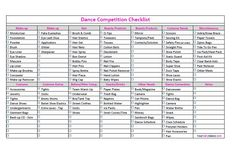 Dance Competition Checklist It's always good to be prepared...