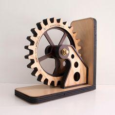 Gear Bookend: Wood Gear Office Organizer Personalized