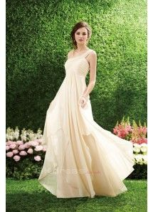 One Shoulder Pleated Bodice A Line Empire Long Bridesmaid Dresses