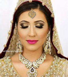 Arabic makeup Indian Bridal Makeup, Asian Bridal, Wedding Hair And Makeup, Bridal Beauty, Hair Makeup, Perfect Makeup, Smokey Eye Makeup, Pink Lips, Bridal Accessories