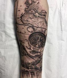 nice Tattoo Trends - Compass Tattoo Mountains