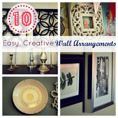 Ways to mix up picture arrangements in your house! Easy, cheap and cute!