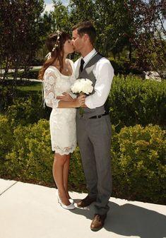 Short Wedding Lace Dress in light ivory  Bridal by PolinaIvanova, $100.00