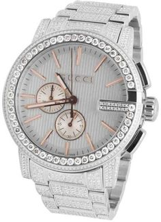 Gucci 101 G-Chrono YA101201 Rose Gold Dial 14.0ct Diamond A Gucci, new to their 2015-16 Lineup. Here is a brand new 101 series Gucci from the G-Chrono series, (Not Gucci) customized with a diamond bezel. The diamonds are added on the bezel and consist of a total of 14 Ct of genuine natural diamonds. Diamonds on the entire case and band making this watch completely covered in diamonds. These diamonds are all SI1-SI3 in clarity and H-I in color. Prominent 44MM case with a gorgeous SMens 44mm…