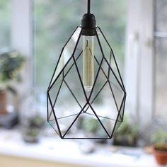 Big Flower Geometric Glass Chandelier / Warm Vintage Bulb / Geometric Pendant Light / Industrial Style Hanging Lamp / Glass Modern Lighting