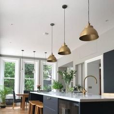 Brooklyn Vintage Metal Dome Pendant Light – Brass Copper - 13 inch just the thing for home, restaurants, hotels and cafés. Kitchen Island Decor, Kitchen Lamps, Modern Kitchen Island, Kitchen Island Lighting, Kitchen Lighting Fixtures, Kitchen Pendants, Home Decor Kitchen, New Kitchen, Home Kitchens