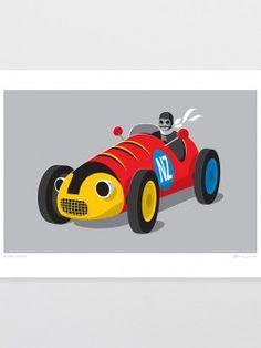 Retro Racer Kids Art Print by Glenn Jones endemicworld. everything art, all the time. Kids Prints, Fine Art Prints, Framed Prints, Glenn Jones, New Zealand Art, Nz Art, Kiwiana, Contemporary Artwork, Art Classroom
